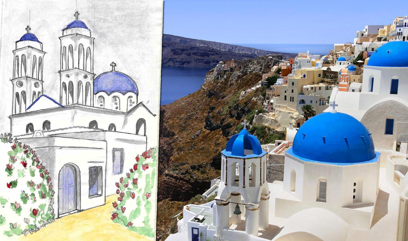 Santorini greek church gatelmand